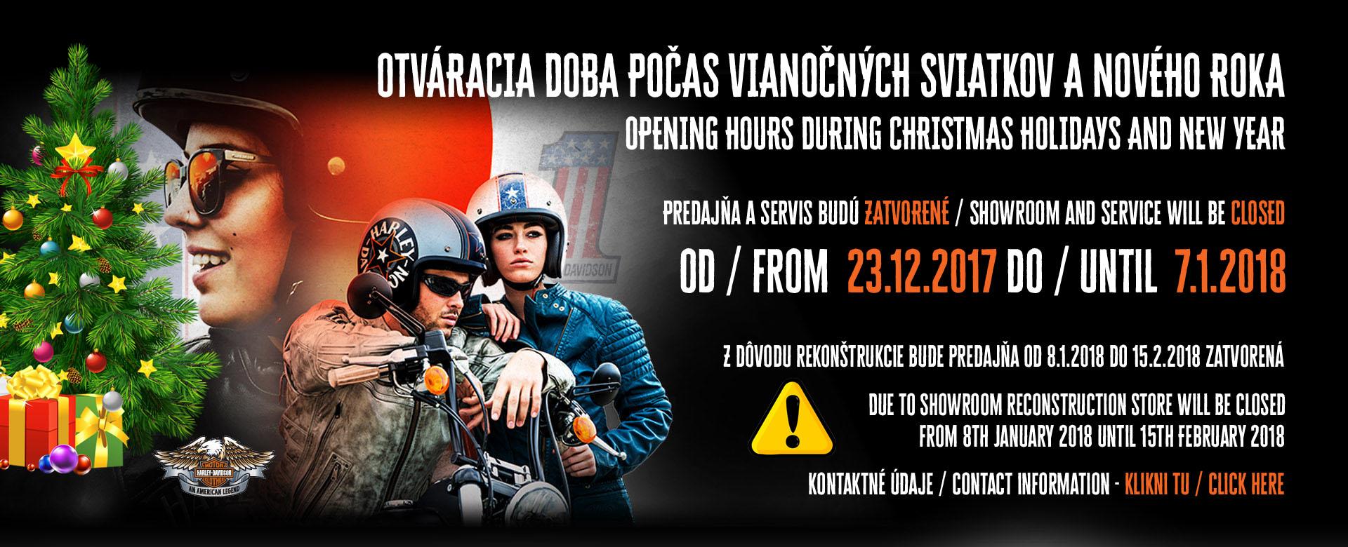 Otváracie hodiny počas vianočných sviatkov Harley-Davidson Bratislava